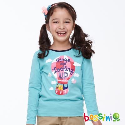 bossini女童-印花長袖T恤03藍綠