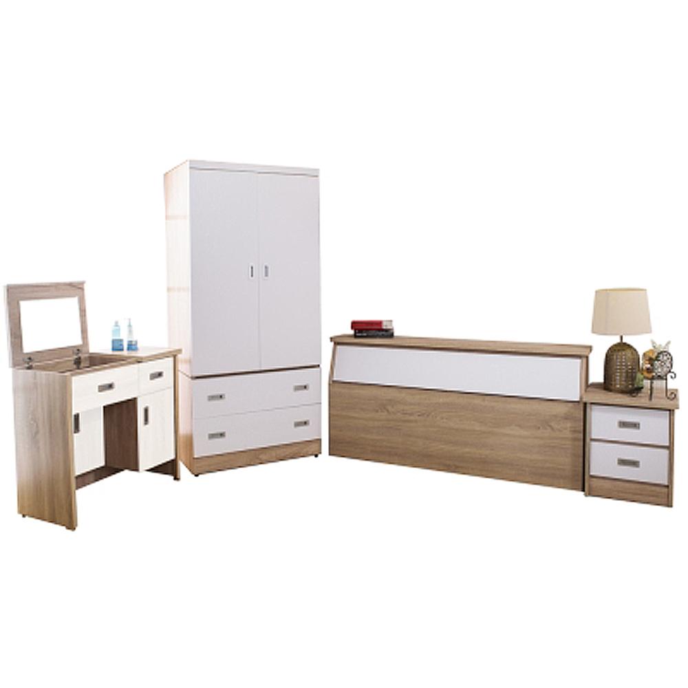 AT HOME-威尼斯梧桐白雙人臥室四件組(床頭箱+床頭櫃+掀式鏡台+2.7尺衣櫃)