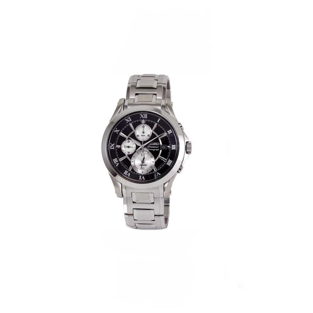SEIKO Premier 雙時區鬧鈴計時碼錶(SNAD27P1)-黑/42mm