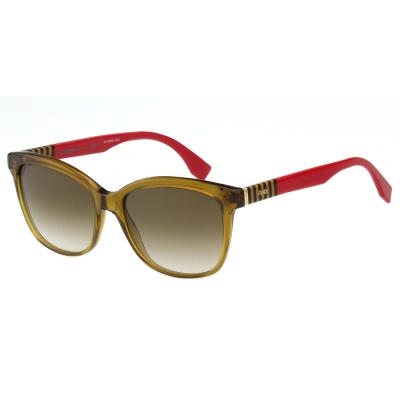FENDI 時尚造型太陽眼鏡 (透明茶色)FF0054S