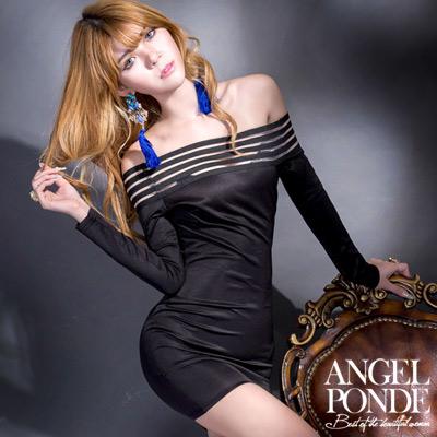 一字領透視伸縮帶長袖包臀洋裝-天使波堤