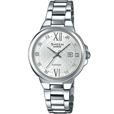 SHEEN 奢華系列羅馬時刻藍寶石玻璃日曆腕錶(SHE-4524D-7A)-銀/31.1m