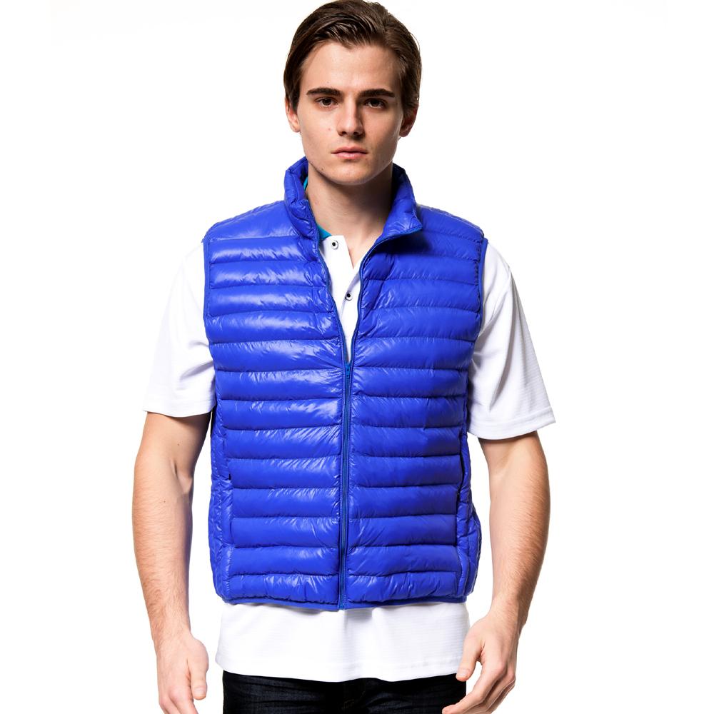 聖手牌 背心 藍色系 運動休閒輕量鋪棉背心