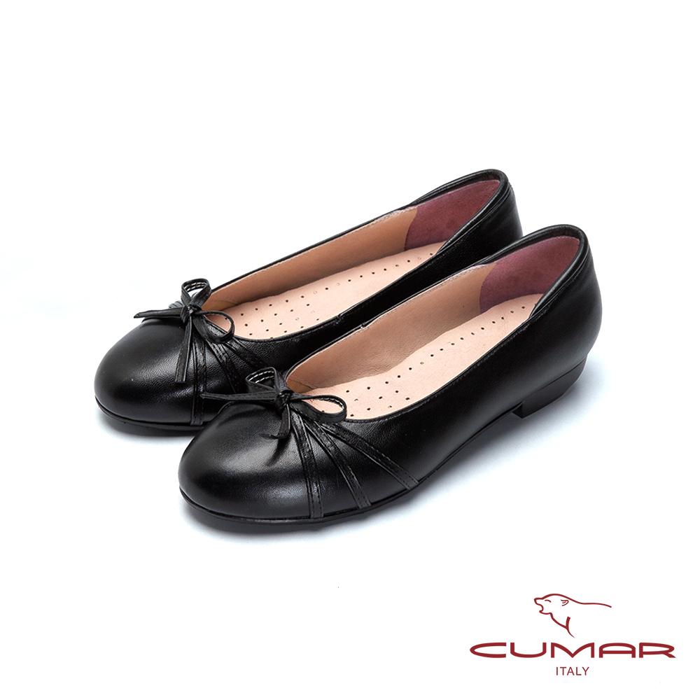 CUMAR舒適通勤 羊皮蝴蝶結娃娃鞋-黑