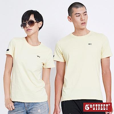 5th STREET 基本袋花圓領短袖T恤-中性-銘黃
