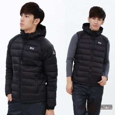 【遊遍天下】男款JIS90%羽絨防風防潑水背心外套二穿式羽絨外套G0327黑色