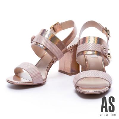 涼鞋 AS 夏日夢境幻彩牛皮粗跟涼鞋-粉