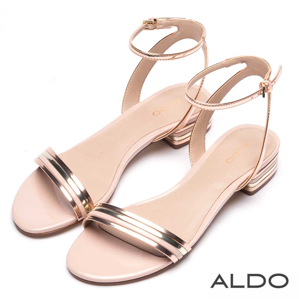 ALDO 原色金屬光幾何條紋繫帶粗跟涼鞋~迷情香檳