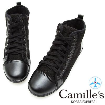 Camille's 韓國空運-正韓製-毛呢拼接綁帶高筒休閒鞋-黑色
