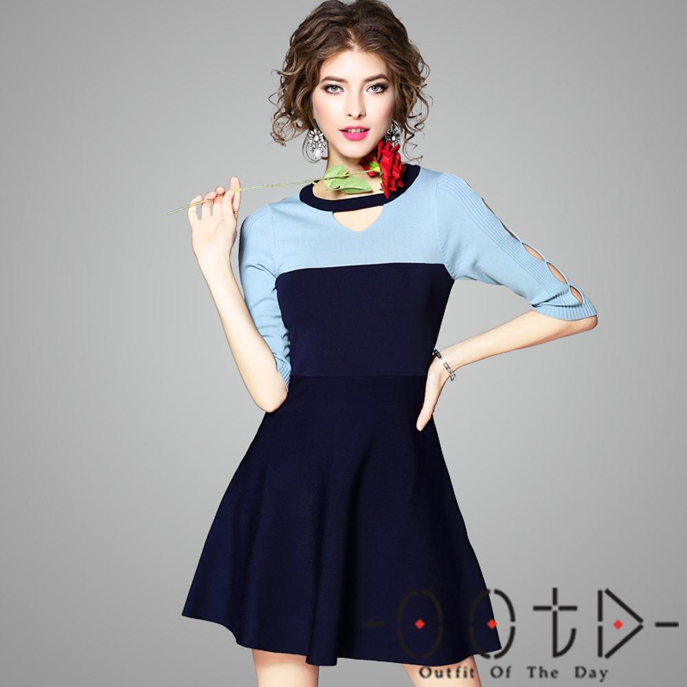 針織圓領撞色露肩洋裝 (共二色)-OOTD