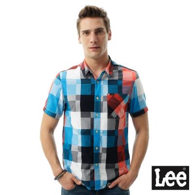 Lee 休閒格紋短袖襯袖/RG-男款-藍色