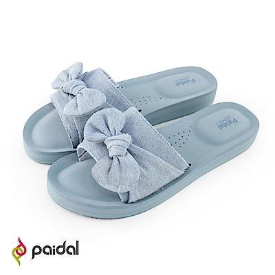 Paidal單寧粉藍蝴蝶結一片式厚底氣墊拖鞋
