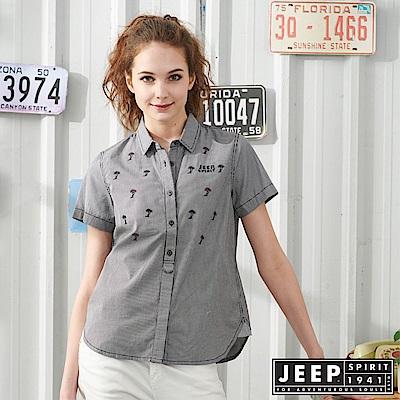 JEEP 女裝 熱帶樹刺繡襯衫-黑色