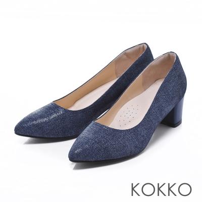 KOKKO經典手工素面尖頭軟墊粗高跟鞋牛仔藍