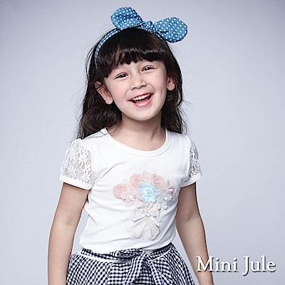 Mini Jule 童裝-上衣 花束蕾絲袖圓領棉T(米白)