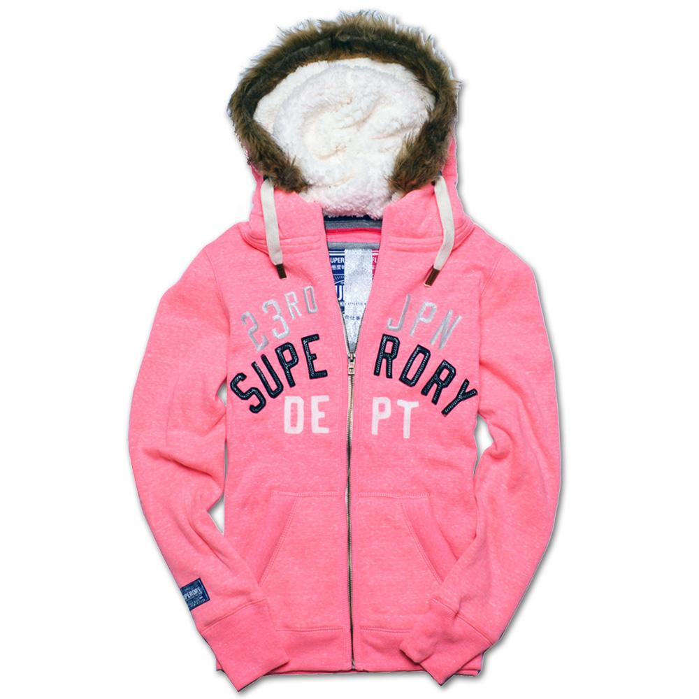 Superdry 極度乾燥 貼布繡金蔥刷毛外套-螢光粉紅