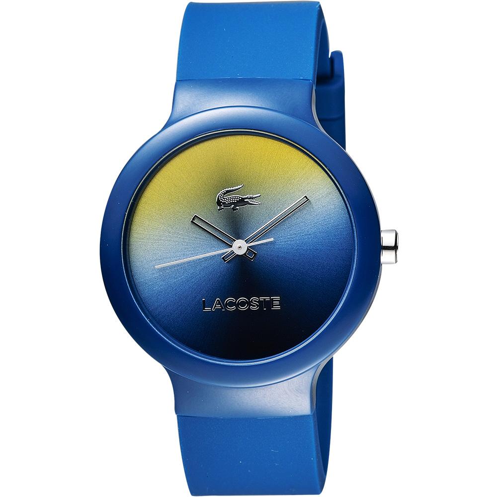 LACOSTE 時尚幻彩系列漸層腕錶-黃x藍/40mm