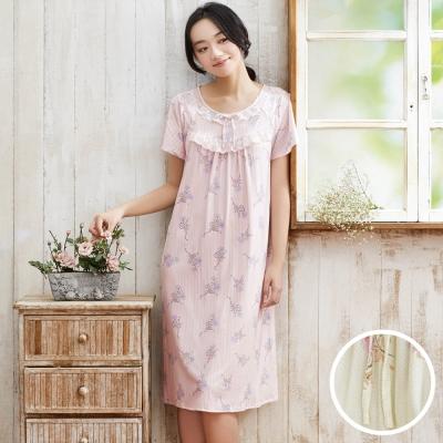 華歌爾睡衣 超柔針織印花 M-L 短袖睡衣裙裝(淺黃)