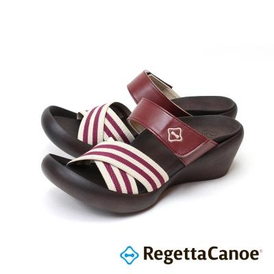 RegettaCanoe-條紋鞋面可調式樂步鞋-深紅色