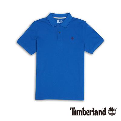 Timberland-男款藍色素面刺繡短袖Polo衫