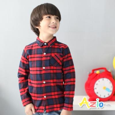 Azio Kids 童裝-襯衫 雙線格紋配色單口袋長袖襯衫(紅)