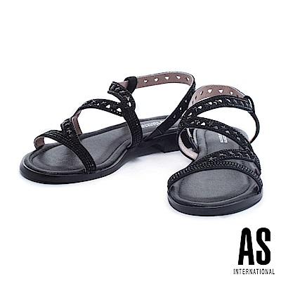 涼鞋 AS 時尚耀眼星鑽設計層次螺紋羊皮低跟涼鞋-黑