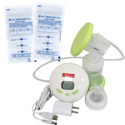 超靜音八段式液晶電動手動吸乳器+芬蒂思 站立型母乳冷凍袋/150ml/60入/贈30抽濕巾