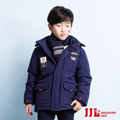 JJLKIDS 簡約厚實感保暖連帽外套(藏青)