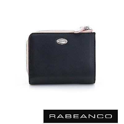 RABEANCO 歐式經典撞色拉鍊短夾 鋼琴黑