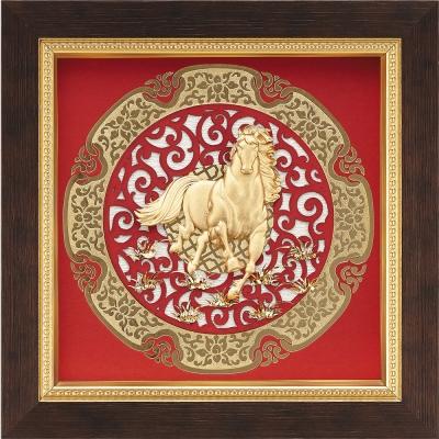 金箔畫 純金 圓形窗花系列 馬【馬到成功】...21x21cm