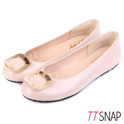 TTSNAP娃娃鞋-MIT高雅時尚金屬方釦平底鞋 米