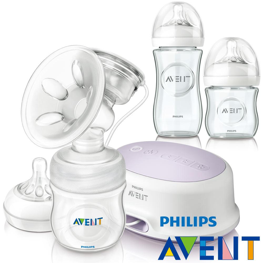 [下殺55折]PHILIPS AVENT 輕乳感PP單邊電動吸乳器+親乳感玻璃防脹氣奶瓶1大1小