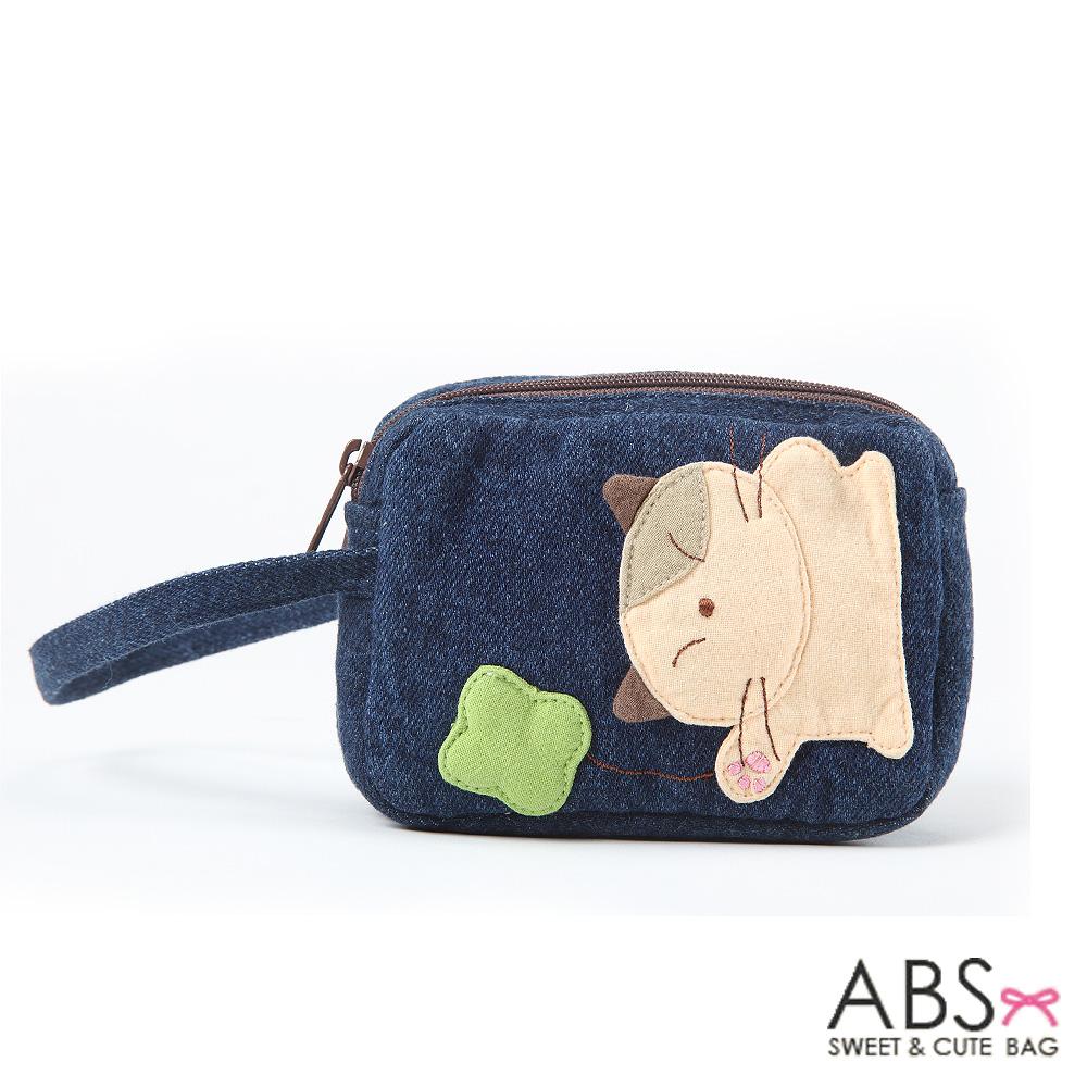 ABS貝斯貓 - 幸運小草 可愛貓咪雙層小錢包88-087 - 牛仔藍