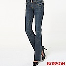 BOBSON 女款後袋翅膀刺繡低腰深藍中喇叭褲