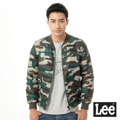 Lee-羽絨外套-輕量迷彩印刷-男款-綠