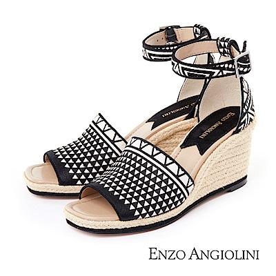 ENZO ANGIOLINI--魚口寬帶草編楔型涼鞋-時髦黑