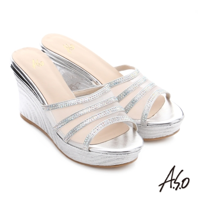 A.S.O 星光注目 全真皮華麗水鑽增高涼拖鞋 銀色