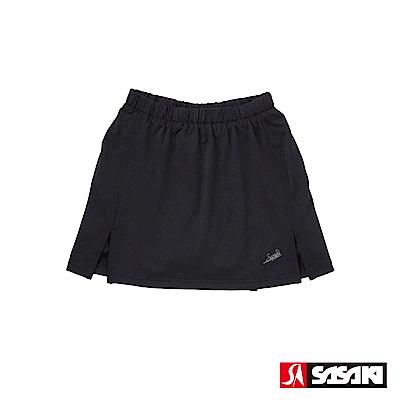 SASAKI 長效性吸濕排汗專業網球裙-女-黑/銀蔥