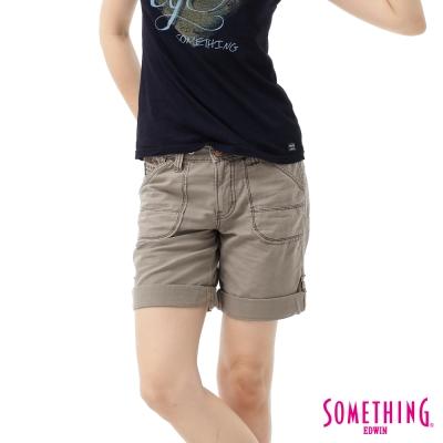 SOMETHING-短褲-綁帶休閒短褲-女-灰褐