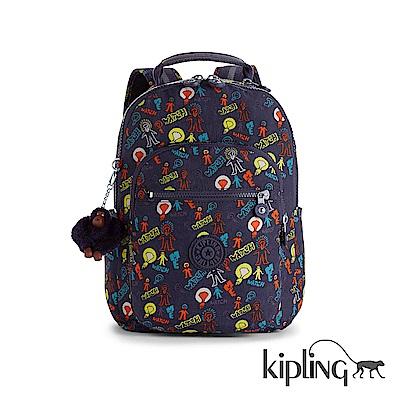 Kipling 後背包 繽紛手繪塗鴉-大
