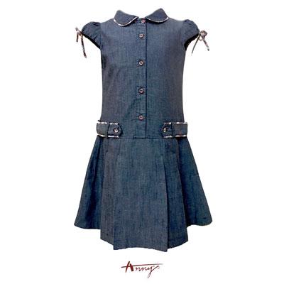 Annys氣質單寧公主袖格紋綁帶設計洋裝*0306藍