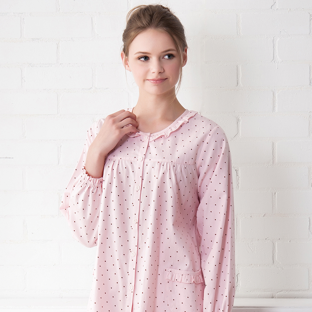 羅絲美睡衣 - 點點糖紗長袖褲裝睡衣(粉紅色)