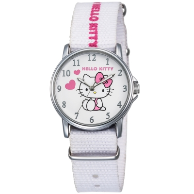 HELLO KITTY 凱蒂貓愛心滿滿帆布手錶-白/33mm