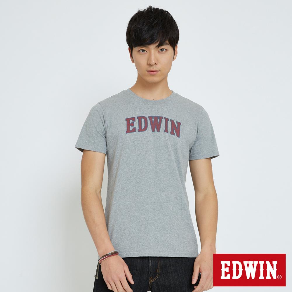EDWIN 復古印花LOGOT恤-男-麻灰