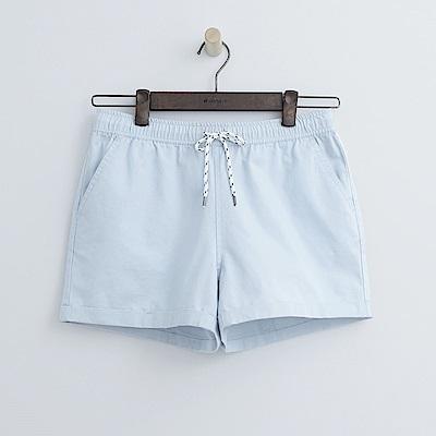 Hang Ten - 女裝 - 打摺純色休閒短褲-淡藍色