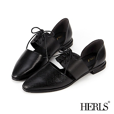 HERLS 都會知性 全真皮異材質綁帶低跟鞋-黑