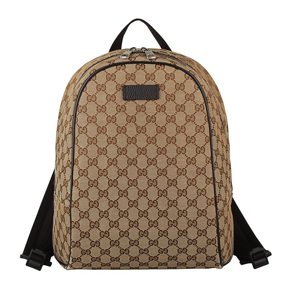 Gucci 經典提花帆布牛皮滾邊拉鍊後背包(咖啡)
