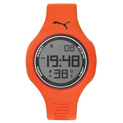 PUMA 跳色韻律 PU錶帶 運動時尚腕錶-橘/44mm