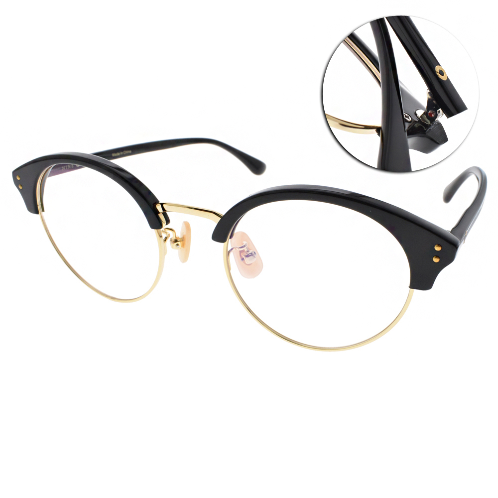 NINE ACCORD眼鏡 復古眉框/黑-金#LENTOP YURI C01