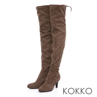 KOKKO心機顯瘦-尖頭綁帶高跟過膝長靴-駝色